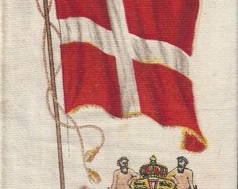 Denmark Flag and Seal Nebo Vintage Cigarette Silk, 1910s