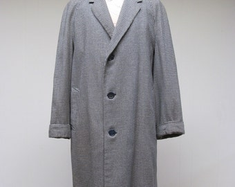 Vintage 1960s Mens Overcoat / 60s Classic Aquascutum Wool Houndstooth Top Coat / 48 Chest Extra Large