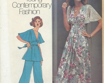 Vintage 1974 Simplicity Sewing Pattern 6710 Junior Petites and Misses Dress or Top and Pants / Size 10