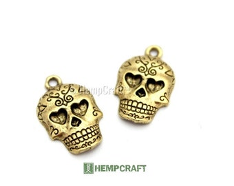Sugar Skull Charms, Day of the Dead, Gold Colored Pewter, 14x22mm - 2pc