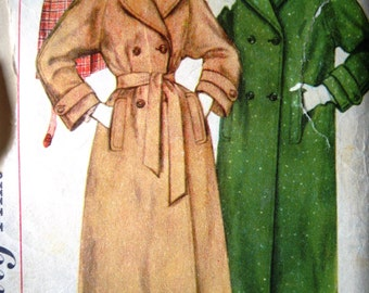 Vintage 1950s Simplicity Sewing Pattern Double Breast Coat B 36