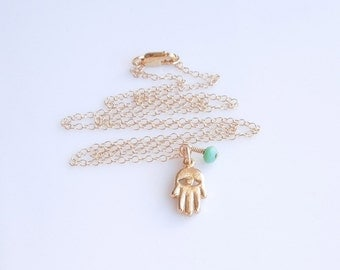 Hamsa Necklace with Chrysoprase in Gold - Petite Necklace