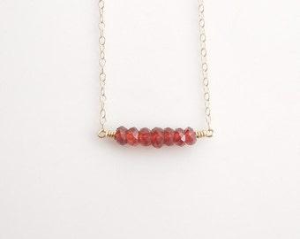 Garnet Bar Necklace in Gold - Birthstone Jewelry