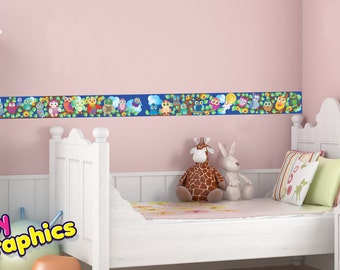 Owls wall border decals - 6.5 feet long & 5.5 inches wide (2 m x 14 cm) - removable (by babygraphics)