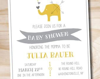 Modern Elephant Baby Shower Invitation  - Printable Digital file or Printed Invitations