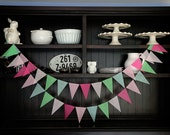 Pink and Mint Pennant Banner, Wedding Backdrop, Flag Banner, Wedding Garland, Pennant Garland, Pennant Banner, Birthday Garland -Pink & Mint
