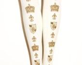 Metallic Gold on White Tights Crown Print All Sizes Small Medium Large Extra Plus Size Lolita Himegyaru Otome