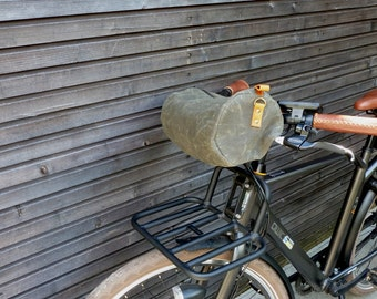 Waxed Canvas Bicycle Handle Bar and Messenger Bag with zipper closure