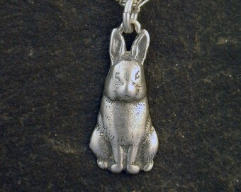 Sterling Silver Rabbit Bunny Hare Pendant on a Sterling Silver Chain.