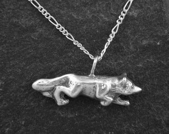 Sterling Silver Fox Pendant on Sterling Silver Chain.