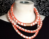 Bright Coral Chevron Rope Necklace with Copper Accent