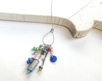 CHARM NECKLACE - guitar string necklace - silver, red, aqua, lime - for teens and adults - recycled/upcycled jewelry - under 35.00