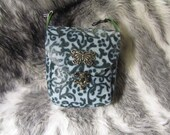 In Stock Blue Filigree Clip Bag with Butterfly Medallion, Belt Loop Pouch, Fanny Pack, Loop Bag