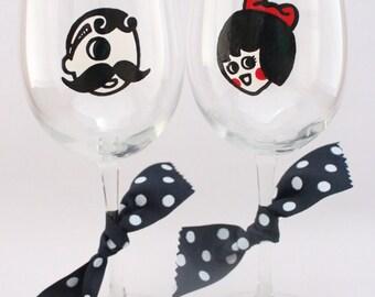 Natty Boh & Utz Girl wineglass pair, baltimore wedding, maryland wedding, boh and utz, handpainted wine glass, baltimore wedding gift