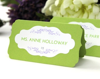 Custom Place Cards, printed wedding escort cards, layered name tents, metallic ink available, unique die-cut shape