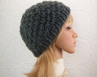Knit hat - charcoal color - knit beanie - women's and teens winter accessories Winter Fashion Sandy Coastal Designs - ready to ship