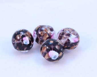 Murano Glass Beads Purple and Pink Bed of Roses Copper Foil 4 Beads