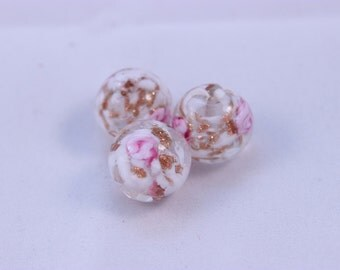 Murano Glass Beads White and Pink Bed of Roses Copper Foil 3 Beads