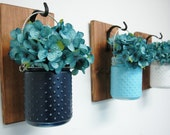 Pick Your Colors Hobnail Jars Wall Decor, mounted to wood base with wrought iron hooks, rustic decor, painted jars, farmhouse decor