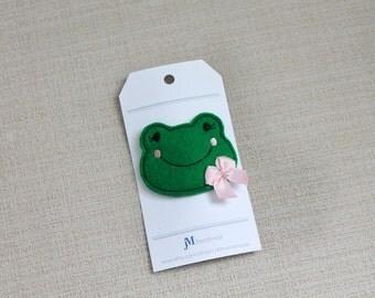 Miss Froggy 100% Wool Felt Snap clips