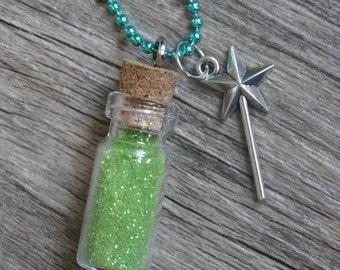 TINKERBELL Inspired Fairy Magic Sprinkles Necklace MEDIUM 38x12mm Choose Color Cork Glass Bottle Glitter Elf Pixie Dust Neverland Tinkerbell