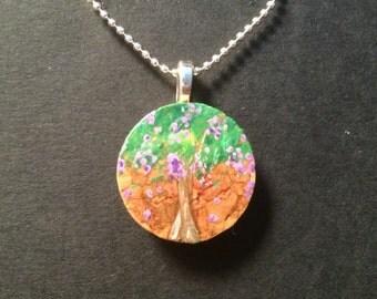 Hand Painted Crepe Myrtle Cork Pendant Necklace