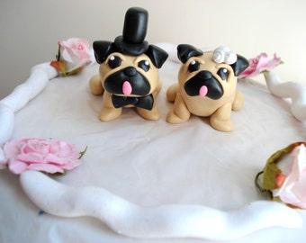 Pug Cake Toppers Wedding Keepsake Cake Decoration Wedding Decor Wedding Cake Topper Anniversary Cake Topper Pug Wedding Cake Topper
