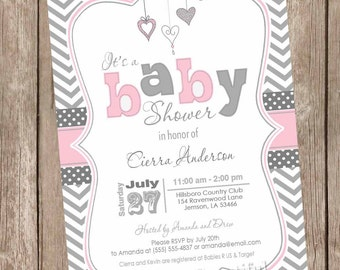Pink and Gray baby shower invitation, hearts, valentines, chevron, baby girl