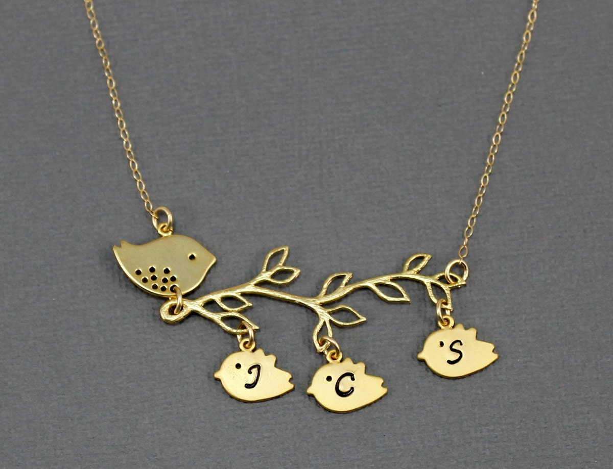 gold personalized mother bird necklace family tree jewelry new. Black Bedroom Furniture Sets. Home Design Ideas