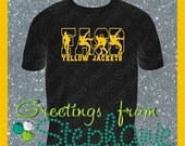 Men's Wrestling Shirt with School Initials and Mascot Name Vinyl T-shirt