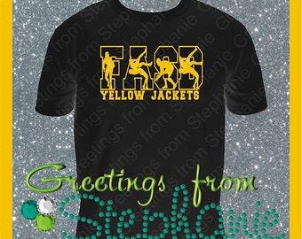 Men's Wrestling Shirt with School Initials and Mascot Name Vinyl T-shirt