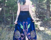 Stunning Embroidered Blue Velvet Bohemian Maxi Skirt