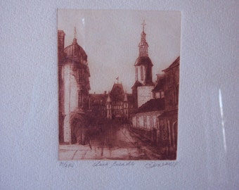 Vintage Etching of European Street Scene,  pencil signed, location and artist