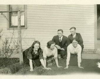 "Vintage Photo ""Picture Shenanigans"" Snapshot Photo Antique Photo Old Black & White Photography Found Photo Paper Ephemera Vernacular - 151"