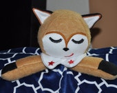 Ready to Ship Adorable Fox Lovey Soft Minky Blanket  and it is Washable too.