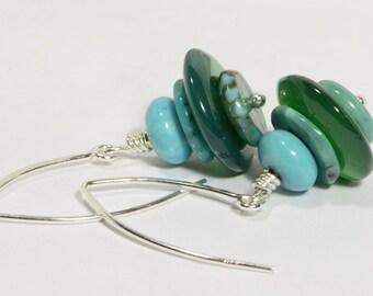 Turquoise Earrings Sterling Silver Earrings Turquoise Jade Earrings Dangle Earrings Gemstone Earrings handmade jewelry
