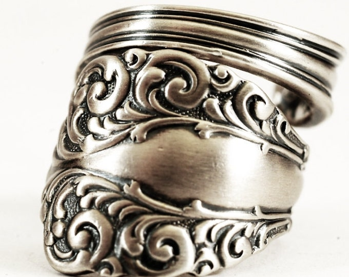 "Edwardian Spoon Ring, 925 Sterling Silver Rococo Ring, Antique Alvin Silver ca 1900 ""Florentine"", Handmade Gift, Adjustable Ring Size (6257)"