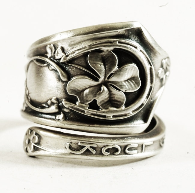 luck ring sterling silver spoon ring shamrock four leaf