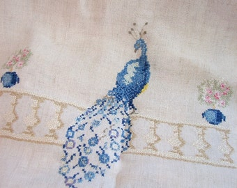 Vintage Linen Table Runner, Peacock and Love Birds Embroidered Linen Decor ... Blue, Green, Coral on Natural Dresser Scarf, Vintage Linens