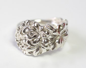 RARE Antique Sterling Silver Ring - Chrysanthemum, 1903