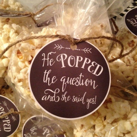 He Popped the Question Gift Tag Engagement Favor Tag Popcorn