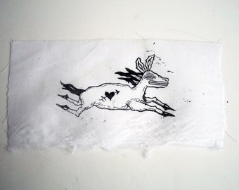 Tiny Running Horse Art Punk DIY Screen Print Patch