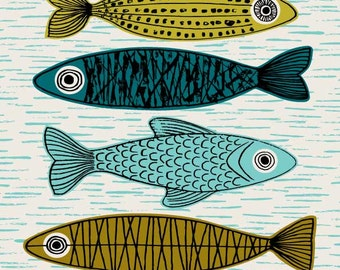 Six Fish, limited edition giclee print