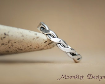 Eternity Wedding Band in Sterling - Hand Forged Twisted Band in Silver - Heavy Intertwined Wire Wedding Band - Twisted Wire Band