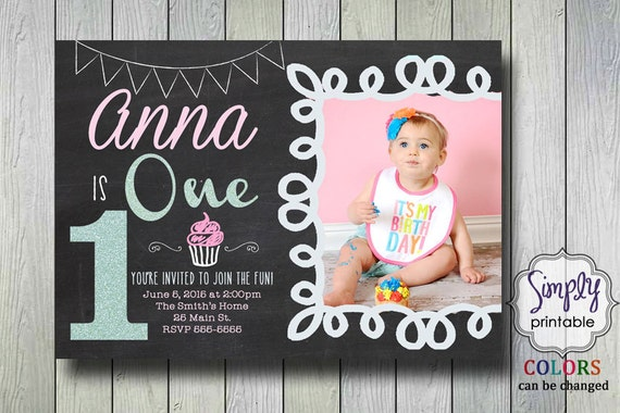 1st Birthday Invitation Chalkboard Pink Blue Aqua