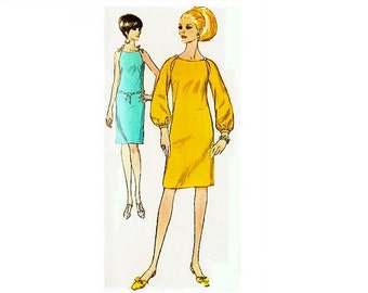Vintage Mod Dress Pattern Peek a Boo Sleeves Round Neckline Sleeveless Bust 32 Simplicity 7076 Womens Vintage Sewing Pattern