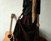 Gypsy victorian pattern dark red maxi skirt, with black ruffled hem petticoat