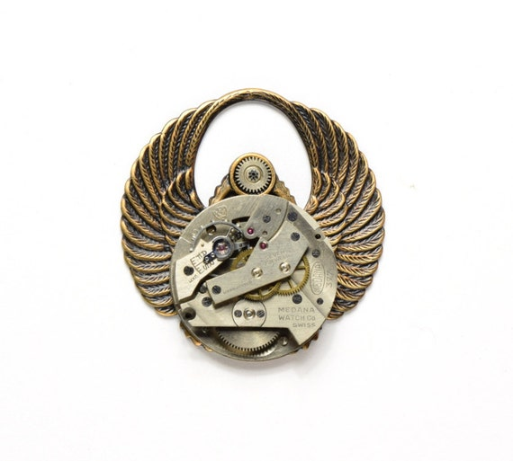 INDUSTRIAL Steampunk Hat Pin Steampunk Top Hat Pin Vintage Watch Pin Wings Egyptian Scarab Military Steam Punk Jewelry Victorian Curiosities