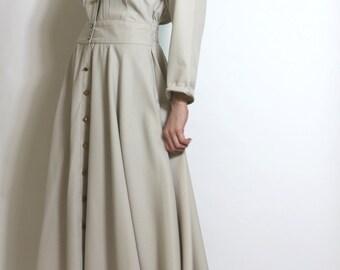 Vintage 80s Dress Designer Details Khaki Military Trench Camp Dress m l