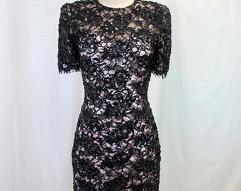 1980s Black Sequin Beaded Lace Cocktail Dress